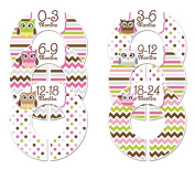 Closet Doodles C195 Owl Girl Baby Clothing Dividers Set of 6 Fits 3.2cm Rod