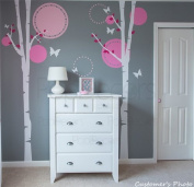 PopDecors - Nursery Trees Wall Decal Baby Girls Wall Murals Elegant Tree Stickers Flying Butterflies Decals - Nice Two Birch Trees