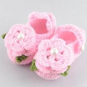 DDU(TM) 1Pair Baby Infant Newborn Soft Warm Handmade Wool Knit Flowers Shoes 3-12 months