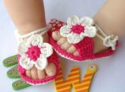 Baby Newborn Infant Girls Crochet Knit Rose White Socks Crib Casual Shoes Prewalker 0-12m