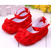 Cute Baby Girl Crib Shoes Comfortable Soft Sole Anti-Slip Sandal Princess Rose Flower Infant Toddler Shoes Red