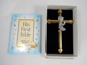 Baby Boy First Bible and 15cm Praying Baby Boy Wall Cross