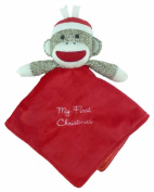"Plush Sock Monkey ""My First Christmas"" Snuggle Buddy Rattle"