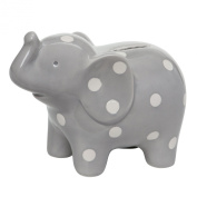 Elegant Baby Ceramic Elephant Bank with White Polka Dots, Grey