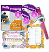 Potty Training In 3 Days - Ultimate Potty Training for Girls. Complete Kit Includes Potty Training In 3 Days Audio Guide, Laminated Potty Training Charts & Pink Potty Time Watch