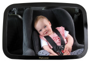 Baby Rear Facing Back Seat Car Mirror - Extra Large Crystal Clear Reflection with Wide-Angle View - Shatterproof & Lightweight - No Centre Headrest required - Great for Baby Shower Gift