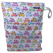★ Buy 2, $1 Off ★ #1 Premium Quality Waterproof PUL Durable Designer Wet Bag for Baby Cloth Nappy / Multipurpose Organiser ★ Machine Washable with Snap handle for strollers - for girls / guys. ★ (Grey Based with Scooters)★Arelpro★