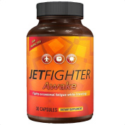 JETFIGHTER AWAKE - JET LAG RELIEF - FIGHTS TIREDNESS - For TRIPS across multiple TIME ZONES - CAFFEINE 100mg + TAURINE + more - Get it before a flight to EUROPE, ASIA, AFRICA or AUSTRALIA - 30 ENERGY PILLS - Combats DAYTIME SLEEPINESS - Helps regulate ..