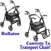 Black CONVERTIBLE ROLLATOR And TRANSPORT CHAIR In ONE Unit Allows Individuals To Ambulate Or Be Pushed Safely By Caregivers. 140kg Weight Capacity.