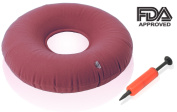 Dr. Frederick's Original Donut Cushion - 38cm Inflatable Ring Cushion - Comfortable Medical Pillow for Hemorrhoid Treatement, Bed Sores, Coccyx & Tailbone Pain, Pilonidal Cyst, Perineal Pain, Pregnancy, Child Birth, Prostatitis and More - Great for Whe ..