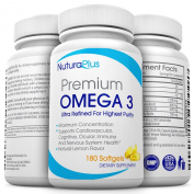 Premium Omega 3 - 180 Fish Oil Pills - 3 Months Supply Of Triple Strength Pure Natural Supplements - Softgels (Ultimate 1,500mg - 800mg EPA + 600mg DHA) Lemon Flavour Burpless Easy Swallow Pills - Best Quality Molecularly Distilled Pharmaceutical Grade ..