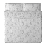 Ikea Alvine Kvist Duvet Cover and Pillowcase, White/Grey, King