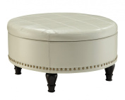 Office Star Augusta Eco Leather Round Storage Ottoman with Brass Colour Nail Head Trim and Deep Espresso Legs, Cream