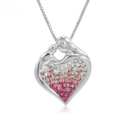 Sterling Silver Pink Ombre Crystal Mother and Child Heart Pendant with. Elements