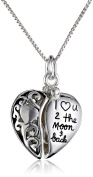 """Sterling Silver Heart """"I Love U 2 The Moon and Back"""" Pendant Necklace, 46cm"""
