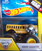 Higher Education School Bus #19 Hot Wheels Off-Road Monster Jam 2014 Includes Monster Truck Jam Mini Figure 1:64 Scale