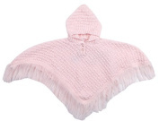 STYLE MIXX Baby Girls Pink Hooded Tassles Knitted Poncho Cardigan Jumper Top NB-6 MTH - ***FREE PAIR OF SOCKS WITH EVERY ORDER***