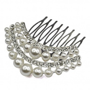 Veroda Crystal Pearl Hot Rhinestones Bridal Hair Comb Pin Wedding Pin Colour White