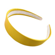 """Bright Yellow Satin Covered Alice Hair Band Headband 2.5cm (1"""") Wide"""