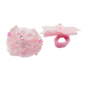 Pink Flower and Bow Hair Band with Beads Stars Girl's Hair Bobbles Ponio Bands Small Soft Baby Ponytail Hair Elastic Hairband
