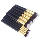 GOLD 10pcs Kabuki Style Professional Make up Brush Set Foundation Blusher Face Powder - GLOBEL ELECTRONICS®