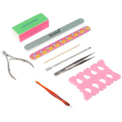 Anself Professional Nail Art Set Manicure Tools Kit Nail File Buffer Toe Finger Separator Cuticle Fork Pusher Nippers Tweezers Polishing Block Stick