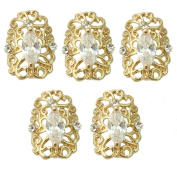 5 Pcs Fashion Bling 3D Rhinestone Hollow Decorations For Nail Manicure Art Tips
