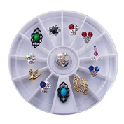 Beauty7 Alloy 3D Nail Rhinestone Art Tips Nail Decoration Mixed Designs Wheel Different Rhinestones Decorations 12 pcs/pack Style NO.17