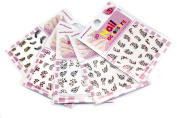 3D Glitter Stickers Decals Adorable Pink Leopard/Heart/Feather Patterns- pack of 5, Mixed Designs With Flower Stickers