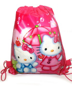 Kids Cartoon Character Double Print Drawstring PE Shoe Swimming Bag Gym Nursery Backpack Kitty