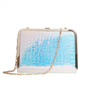 Zarapack Women's Hologram Pu Leather Evening Clutch Handbag Hard Case With Chain