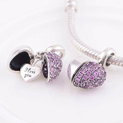 I Love You - Dangling Silver Heart Crystal Charm - Genuine 925 sterling silver charm bracelet bead