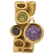 Endless Multi Gemstones Amethyst Gold Charm