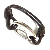 Mens Tan Braided Leather Bracelet Magnetic Stainless Steel Clasp