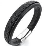 MunkiMix Stainless Steel Genuine Leather Bracelet Bangle Cuff Black Silver Biker Braided Gothic Biker Men
