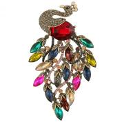 Ever Faith Austrian Crystal Art Nouveau Peacock Multicolor Feather 10cm Brooch Antiqued-Gold-Tone N05623-4