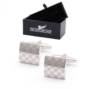 Men's Classic Design Stainless Steel Silver Chequered Cufflinks with Luxury Gift Box