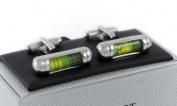 Onyx Art Metallic Green Bubble Leveller Cufflink's in a gift box plus FREE Premier Life pen - CK834