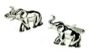 Onxy Art Metallic Elephant Cufflinks in a gift box plus FREE Premier Life pen - CK459