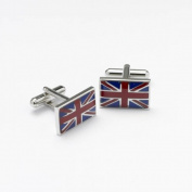 Onyx Art Metallic Union Jack, United Kingdom flag Cuflinks in a gift box plus FREE Premier Life pen - CK115