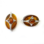 Goldmajor Amber Disc with Sterling Silver Star Design Stud Earrings