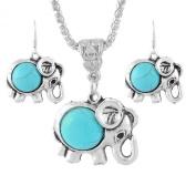 Godagoda Silver Tone Colour Turquoise Elephant Drop Dangle Earrings Necklace Jewellery Set