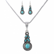 Godagoda Antique Silver Colour Ethnic Turquoise Rhinestone Drop dangle Earrings Necklace Jewellery Set