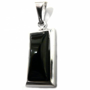 Goldmajor Sterling Silver Oblong Pendant with Rectangular Jet Stone with 45.7cm Chain