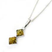 GOLDMAJOR Sterling Silver and Green Amber Two Square Stones Pendant on Chain of Length 45.7cm