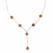 Goldmajor Sterling Silver and Six Small Amber Bead Necklace of Length 41.5cm