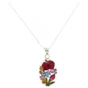 Shrieking Violet Silver Real Mix Flowers Oval Pendant Necklace Chain
