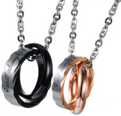 Epinki Couple's Stainless Steel Jewellery Pendant Necklace Double Rings Men Black Women Rose Gold A Pair