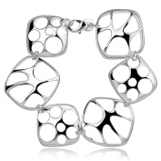 Dawanza - Perfect Bracelet for Women - Six Hollow Out Squares - Perfect Jewellery Silver Plated - 8 inchs