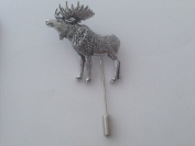 A47 Standing Moose fine english pewter Motif on a tie stick pin hat scarf collar coat